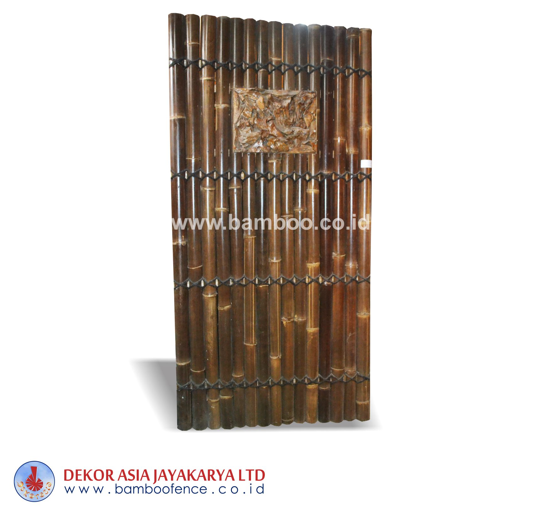 Half Cut Bamboo Fence 4 Blades Back, Black Coco Strap Wood Carving